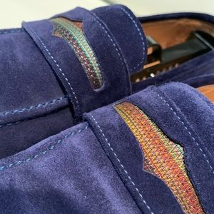 Robert Graham Shoes - Robert Graham Blue Suede Leather Slip-On Loafers